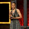 "Sophie Okonedo accepts the award for best performance by an actress in a featured role in a play for ""A Raisin in the Sun"" on stage at the 68th annual Tony Awards at Radio City Music Hall on Sunday, June 8, 2014, in New York. (Photo by Evan Agostini/Invision/AP)"