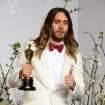 Jared Leto poses in the press room with the award for best actor in a supporting role for