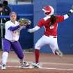 LSU first baseman Rikki Alcaraz makes the catch to get out OU runner Brianna Turang during the University of Oklahoma - Louisiana State University game at