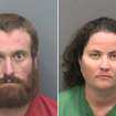 These photos provided by Hillsborough County Sheriff's Office show Joshua Michael Hakken, left, and Sharyn Hakken.  Joshua Michael Hakken and his wife,Sharyn, are accused of kidnapping their two young sons and fleeing by boat to Cuba. They were handed over to the United States and their children were returned to the maternal grandparents who have official custody, authorities said Wednesday, April 10, 2013.  The couple are being held at the Hillsborough County Jail on a number of charges including kidnapping, child neglect and interference with custody, the Hillsborough County Sheriff's Office said on its website. U.S. authorities say the Hakkens kidnapped there sons, 4-year-old Cole and 2-year-old Chase, from his mother-in-law's house north of Tampa, Florida. The boys' grandparents were granted permanent custody of the boys last week. (AP Photo/Hillsborough County Sheriff's Office)