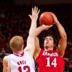 Jacksonville State's Rinaldo Mafra (14) sinks a shot over Nebraska's Brandon Ubel (13) during the first half of an NCAA college basketball game Tuesday, Dec. 18, 2012, in Lincoln, Neb. Nebraska defeated Jacksonville State 59-55. (AP Photo/The Omaha World-Herald, Mark Davis) MAGS OUT  LOCAL TV OUT