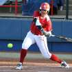 OU's Keilani Ricketts hits a line drive during the University of Oklahoma - Louisiana State University game at