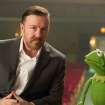 ADDS REFERENCE TO KERMIT THE FROG AS CONSTANTINE - This undated publicity photo released by Disney shows Ricky Gervais, left, as Dominic and Kermit the Frog as Constantine, right, from Disney's