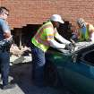 A car drove into the side of an apartment complex at 3815 NW 23 Friday, March 23, 2012. Photo by Zeke Campfield, The Oklahoman