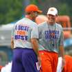 Clemson coach Dabo Swinney, left, talks with defensive coordinator Brent Venables. Venables has had plenty to say about Clemson's defensive failings in the Orange Bowl against West Virginia. On Saturday, he'll have a chance to make a statement when Clemson faces Auburn in Atlanta. (AP Photo/Anderson Independent-Mail, Mark Crammer).