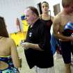 Edmond High School swimming coach Steve Riggs talks with his swimmers before practice at Oklahoma Christian University on Monday, Dec. 6, 2010. Photo by John Clanton, The Oklahoman