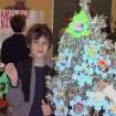 Zach Hurley proudly displays his hand-made Christmas ornaments.  Community Photo By:  Vonne  Submitted By:  Vonne, Oklahoma City