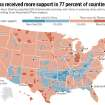 GRAPHIC / ILLUSTRATION / U.S. MAP / UNITED STATES / BARACK OBAMA: Obama received more support in 77 percent of counties - President-elect Obama outpolled 2004 Democratic nominee John Kerry in suburbs, cities and rural areas, according to an Associated Press analysis.