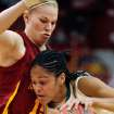 Heather Ezell (left) defends Baylor's Jhasmin Player during the first half of the 2009 Big 12 Women's Basketball Championship game between Baylor University and Iowa State in the Cox Convention Center in Oklahoma City, Oklahoma, on Saturday, March 14, 2009. PHOTO BY STEVE SISNEY, THE OKLAHOMAN