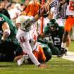 OSU quarterback Zac Robinson (11) reaches for the end zone after a scramble in the first half during the college football game between Oklahoma State University and Baylor University at Floyd Casey Stadium in Waco, Texas, Saturday, Nov. 17, 2007. Robinson scored on the play. BY MATT STRASEN, THE OKLAHOMAN