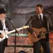 Merle Haggard, left, and Blake Shelton perform on stage at the 56th annual Grammy Awards at Staples Center on Sunday, Jan. 26, 2014, in Los Angeles. (Photo by Matt Sayles/Invision/AP)