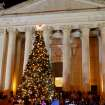 The tree is lit on the steps of the Capitol in Oklahoma City, Monday, December 3, 2007. By Matt Strasen, The Oklahoman