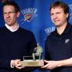 NBA BASKETBALL / NAME / NAMING: Oklahoma City Thunder head coach Scott Brooks and general manager Sam Presti pose with the Red Auerbach Trophy during a press conference at the Ford Center in Oklahoma City, Oklahoma on Wednesday, April 21, 2010. Scott Brooks was named the NBA Coach of the Year. By John Clanton, The Oklahoman ORG XMIT: KOD