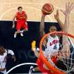 United States' Tyson Chandler (4) drives to the basket against Spain during the men's gold medal basketball game at the 2012 Summer Olympics  in London on Sunday, Aug. 12, 2012. (AP Photo/Christian Petersen, Pool)