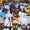 Ghana's Wakaso Mubarak, second from right, celebrates with teammates after scoring his second goal during their quarter final of the African Cup of Nations  soccer match against Cape Verde at the Nelson Mandela Bay Stadium in Port Elizabeth, South Africa, Saturday Feb. 2, 2013. (AP Photo/Themba Hadebe)