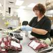 Carrie Curtis, lab tech, labels blood at the Oklahoma Blood Institute in Oklahoma City, Okla. June 4 , 2008.  BY STEVE GOOCH, THE  OKLAHOMAN