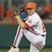 Clemson's Daniel Gossett pitches during an NCAA college baseball game against South Carolina, Friday, March 1, 2013, in Clemson, S.C. (AP Photo/Anderson Independent-Mail, Mark Crammer)  GREENVILLE NEWS OUT, SENECA NEWS OUT