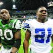 New York Jets running back Thomas Jones, left, and his brother, Dallas Cowboys running back Julius Jones walk off the field after an NFL football game, Thursday, Nov. 22, 2007, in Irving, Texas. (AP Photo/Tony Gutierrez)