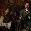 """In this image released by Warner Bros. Pictures, Robert Downey Jr., left, and Jude Law, are shown in a scene from """"Sherlock Holmes: A Game of Shadows."""" (AP Photo/Warner Bros. Pictures, Christopher Raphael) ORG XMIT: NYET217"""