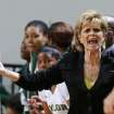 Baylor coach Kim Mulkey argues a call during the first half of Baylor's NCAA college basketball game against Lamar, Friday, Nov. 9, 2012, in Waco, Texas. Baylor won 80-34. (AP Photo/Waco Tribune Herald, Rod Aydelotte)