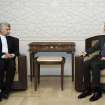 In this photo released by the Syrian official news agency SANA, Iran's Supreme National Security Council, Saeed Jalili, meets with Syrian President Bashar Assad in Damascus, Syria, Tuesday, Aug. 7, 2012. (AP Photo/SANA)