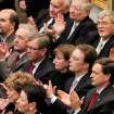 Members of the governor's cabinet applaud near the end of his speech as Gov. Brad Henry delivers his yearly State of the State message to a joint session of lawmakers in the House chambers at the state capitol Monday afternoon, Feb, 1, 2010.  Photo by Jim Beckel, The Oklahoman