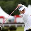 Morgan Pressel of the USA, tees off on the second hole during the first round of the Women's British Open golf championship on the Old Course at St Andrews, Scotland, Thursday Aug. 1, 2013. (AP Photo/Scott Heppell)