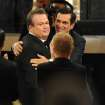 Ty Burrell, right, congratulates Eric Stonestreet after Stonestreet won the award for outstanding supporting actor in a comedy series for