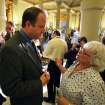 U.S. Rep. Jared Polis, D-Colo, left, speaks with Randee Webb of the organization What The Frack?! Arapahoe, following a news conference about oil and gas drilling, at the Capitol, in Denver, Monday Aug. 4, 2014. Polis joined Colo. Gov. John Hickenlooper on Monday Aug. 4 to detail what they're pitching as a compromise to prevent four initiatives that support or oppose fracking.  (AP Photo/Brennan Linsley)
