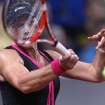 Australian Samantha Stosur hits a forehand against Russia's Maria Sharapova during their quarterfinal match at the Porsche tennis Grand Prix in Stuttgart, Germany, Friday, April 27, 2012.  (AP Photo/Michael Probst) ORG XMIT: PSTU121