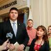 Sen. Ralph Shortey, R-Oklahoma City, left, talks to reporters.  At right are Chris Oliver, Karen Monahan and Cheryle Dowdy.  A small  group delivered petitions to Gov. Mary Fallin at the state Capitol Tuesday afternoon, November 1, 2011,  urging her to consider the conviction of pharmacist Jerome Ersland on murder charges. He is currently in prison at Joseph Harp Correctional Center  in Lexington for shooting a boy who attempted to rob his southwest Oklahoma City pharmacy in May, 2009.  Photo by Jim Beckel, The Oklahoman