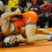 At 157 pounds, Oklahoma State wrestler Alex Dieringer takes down Oklahoma's Justin DeAngelis. Dieringer won the bout by a major decision score of 13-4 in Oklahoma State's 40-3 victory over Oklahoma at Gallagher Iba Arena in Stillwater, Okla. during the Big 12 Dual Finals on March 8, 2013. KT King/For the Oklahoman