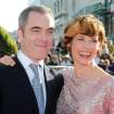 Cast members James Nesbitt who plays Bofur, left, and Canadian actress Evangeline Lilly pose on the red carpet at the premiere of