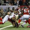 San Francisco 49ers' Michael Crabtree (15) loses the ball neat the goal line during the second half of the NFL football NFC Championship game against the Atlanta Falcons Sunday, Jan. 20, 2013, in Atlanta. The Falcons recovered the fumble. (AP Photo/Mark Humphrey)