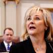 Gov. Mary Fallin delivers her 2012 State of the State address to a joint session of the Oklahoma legislature in the House Chamber on the opening day of the session, Monday, Feb, 6, 2010. Seated behind Fallin is Lt. Gov. Todd Lamb.   Photo by Jim Beckel, The Oklahoman