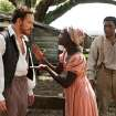 "This image released by Fox Searchlight shows Michael Fassbender, left, Lupita Nyong'o and Chiwetel Ejiofor, right, in a scene from ""12 Years A Slave."" Fassbender was nominated for an Academy Award for best supporting actor on Thursday, Jan. 16, 2014, for his role in the film. The 86th Academy Awards will be held on March 2. (AP Photo/Fox Searchlight, Francois Duhamel)"