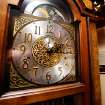 The hands on the grandfather clock standing in a corner of the formal living room of the Reneau home are frozen at 2:15, when homeowner Mary Reneau said  an earthquake shook her house hard enough to cause the clock to stop working in the early morning hours of Saturday, Nov. 5. , 2011.   Mary and her husband, Joseph were awakened around 2:15 a.m. when their house shook and items began falling off the walls and form shelves and cabinets inside their two-story brick ranch-style  home in rural Lincoln County, about  six miles northwest of Prague.  Austin Holland, a seismologist with the Oklahoma Geological Survey, placed the quake's epicenter within two to three miles of the Reneau home.  The Reneaus have lived in their house for 25 years. Photo by Jim Beckel, The Oklahoman  ORG XMIT: KOD