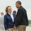 Oklahoma Governor Mary Fallin greets President Obama at Tinker Air Force Base after his arrival Sunday May 26, 2013. The President is in Oklahoma to tour the Moore tornado area and meet with families. Photo by Bryan Terry, The Oklahoman.