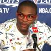 Russell Westbrook in post game press conference wearing his red glasses and fishing lure shirt. Frame grab from NewsOK.tv