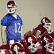 OU / COLLEGE FOOTBALL / SPRING PRACTICE: Oklahoma Sooners quarterback Landry Jones looks down the offensive line during practice at the Everest Training Facility on the University of Oklahoma campus in Norman on Monday, March 8, 2010. Photo by John Clanton, The Oklahoman ORG XMIT: KOD
