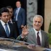 FILE - Iraq's Vice President Tariq al-Hashemi speaks to the media as he leaves a meeting with Turkey's Foreign Minister Ahmet Davutoglu, unseen, in Ankara, Turkey, in this Sunday, Sept. 9, 2012 file photo. An Iraqi court on Thursday Nov 1 2012 unexpectedly convicted the country's fugitive Sunni vice president on charges of instigating bodyguards to assassinate a senior government official and sentenced him to death.The verdict was the second death sentence for Tariq al-Hashemi in less than two months, and is likely to stoke further resentment among Iraq's minority Sunni Muslims against the Shiite-led government. The sentence is unlikely to be carried out any time soon because al-Hashemi has exiled himself in neighboring Turkey. (AP Photo/Burhan Ozbilici, file)