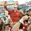 Florida State coach Bobby Bowden is carried on the shoulders of his players Friday after the Seminoles' 33-21 win over West Virginia in the Gator Bowl. AP photo