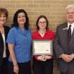 MNTC Accounting student Marlaine Yancey (third from left) is presented the Nancy Liner Memorial Scholarship by (l to rt) MNTC HIRE Instructor Becky Boyd, MNTC Accounting Instructor Charlotte Burnham, and MNTC Superintendent John Hunter.  Community Photo By:  Subramanian, MNTC  Submitted By:  Anna, Norman