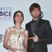 Adelaide Kane and Torrance Coombs pose in the press room with the award for favorite new TV drama at the 40th annual People's Choice Awards at Nokia Theatre L.A. Live on Wednesday, Jan. 8, 2014, in Los Angeles. (Photo by John Shearer/Invision/AP)