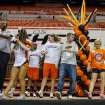 Jaden Rose Brunnemer, second from right, dances with members of multiple OSU athletic programs.  Oklahoma State University hosted a Coaches vs. Cancer Birthday party in Gallagher-Iba arena in Stillwater, Ok on Sept. 16, 2012. Photos by Mitchell Alcala for the Oklhaoman