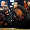 Oklahoma State guard Tiffany Bias watches anxiously while awaiting their seeding in the NCAA tournament at a watch party held at Boone Pickens Stadium in Stillwater, Okla., on March 18, 2013. KT King/For the Tulsa World