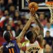 Phoenix Suns power forward Markieff Morris (11) fouls Portland Trail Blazers power forward Thomas Robinson (41) during the first quarter of an NBA basketball game on Wednesday, Nov. 13, 2013, in Portland, Ore. (AP Photo/Steve Dykes)