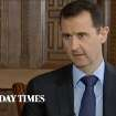 In this image taken from video filmed on Thursday, Feb. 28, 2013 and released Saturday evening, March 2, 2013, Syrian President Bashar Assad speaks during an interview with the Sunday Times, in Damascus, Syria. Iran and Syria condemned a U.S. plan to assist rebels fighting to topple Assad on Saturday and signaled the Syrian leader intends to stay in power at least until 2014 presidential elections. Assad told the Sunday Times in the interview timed to coincide with U.S. Secretary of State John Kerry's first foreign trip that
