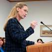 Rep. Bette Grande testifies before the House Human Services Committee on Wednesday Jan. 31, 2013 in Bismarck, N.D. The Fargo Republican is sponsoring a bill that would ban abortions in the state if a fetal heartbeat is detected. (AP Photo/James MacPherson)