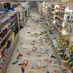 Merchandise is strewn across the floor in a La Habra Walgreens following a 5.1 earthquake centered near La Habra Friday night March 28, 2014. (AP Photo/The Orange County Register, Blaine, Ohigashi)